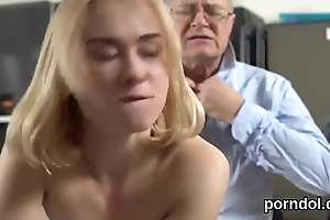 Cute schoolgirl is tempted and banged by senior bus
