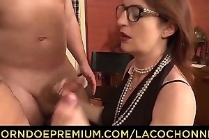 LA COCHONNE - Horny French tiro with glasses gets cum on chest fro hurtful MMF threesome