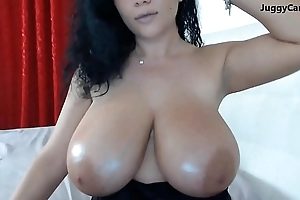 Monster broad in the beam tits on webcam