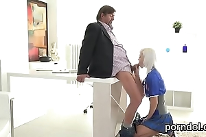 Lovable schoolgirl gets teased plus poked by aged mentor