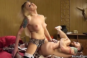 Tranny swapping cum with her male slave