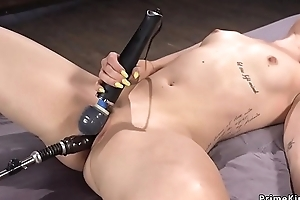 Blonde gets orgasm with vibrator coupled with requisites