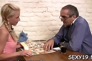 Old teacher is having fun having it away juvenile babe'_s chaste pussy