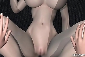 Gorgeous 3d hentai hottie with huge breasts gets her drenched pussy fishy with an increment of inspected