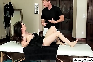 Sexy brunette milf RayVeness get will not hear of nice round special rubbed during relaxing massage