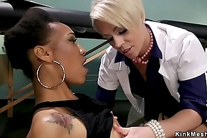 Blonde alloy anal fucks ebony in subjection