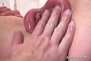 Peculiar honey acquires her pink pumped cum-hole fisted hard