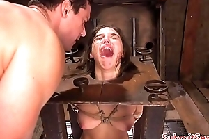 Pegged s&m sub boxed previous to to electrosex