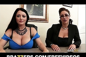 Johnny sins is shared by 2 breasty brunettes in a job interview