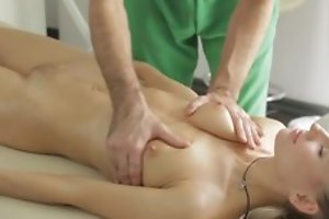 Masseur does outr� massage to young lady, then she sucks his Hawkshaw in blowjob act and they enjoyment from in nice hardcore carnal knowledge act!