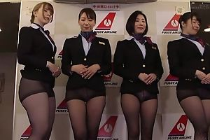 Organize of Asian stewardesses getting fucked good increased by proper