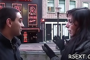 Concupiscent hooker gives a sexy blowjob and jerks off to carry out